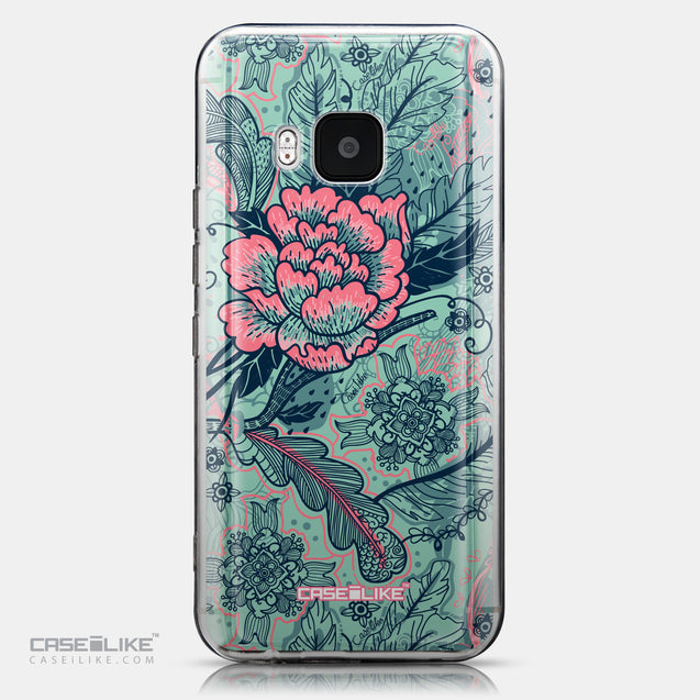 CASEiLIKE HTC One M9 back cover Vintage Roses and Feathers Turquoise 2253