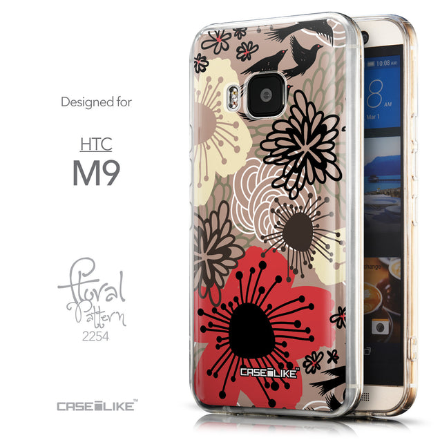 Front & Side View - CASEiLIKE HTC One M9 back cover Japanese Floral 2254