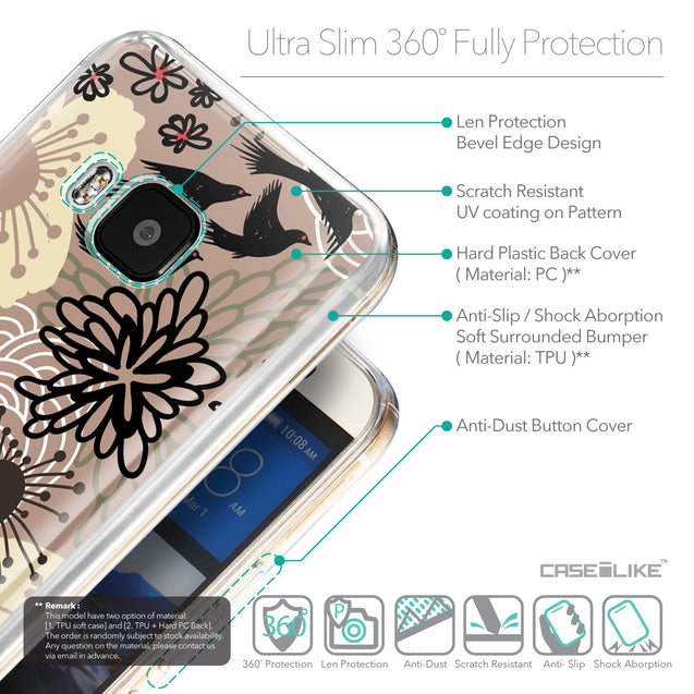 Details in English - CASEiLIKE HTC One M9 back cover Japanese Floral 2254