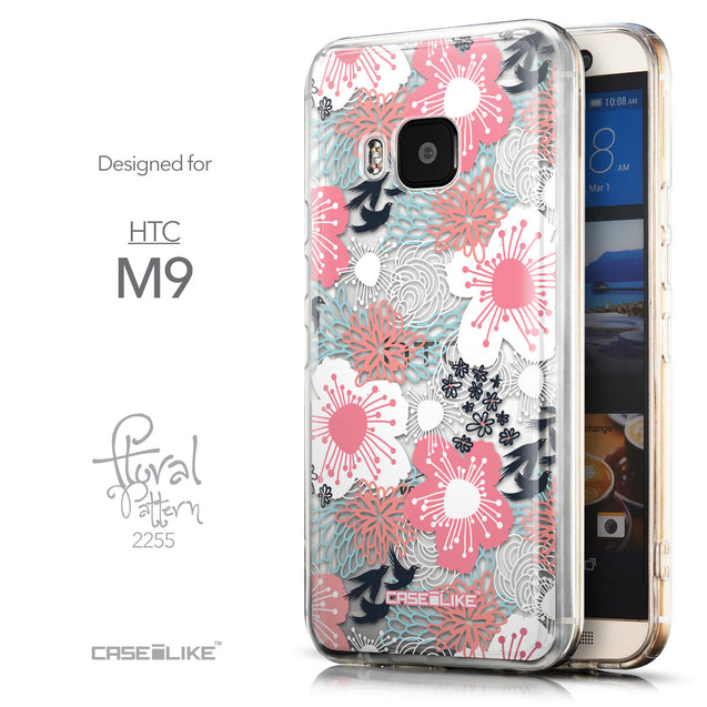 Front & Side View - CASEiLIKE HTC One M9 back cover Japanese Floral 2255