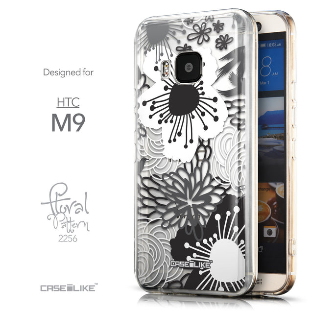 Front & Side View - CASEiLIKE HTC One M9 back cover Japanese Floral 2256