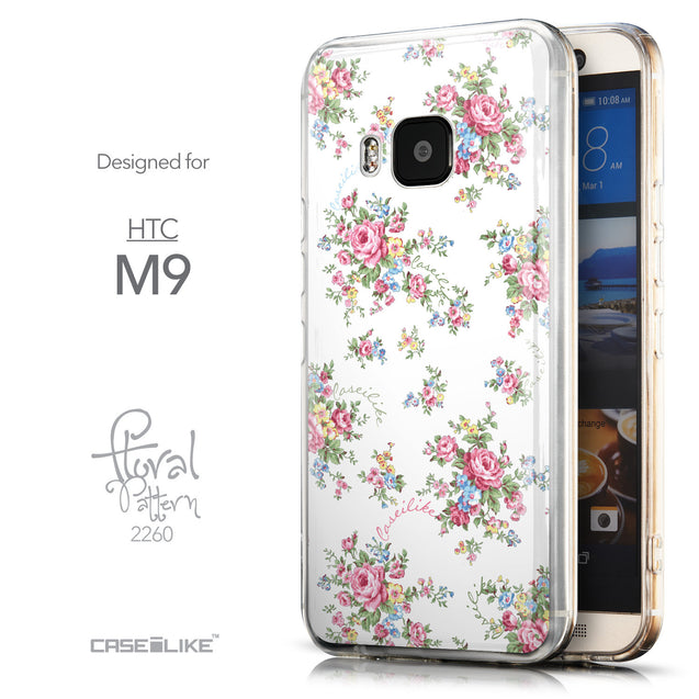 Front & Side View - CASEiLIKE HTC One M9 back cover Floral Rose Classic 2260