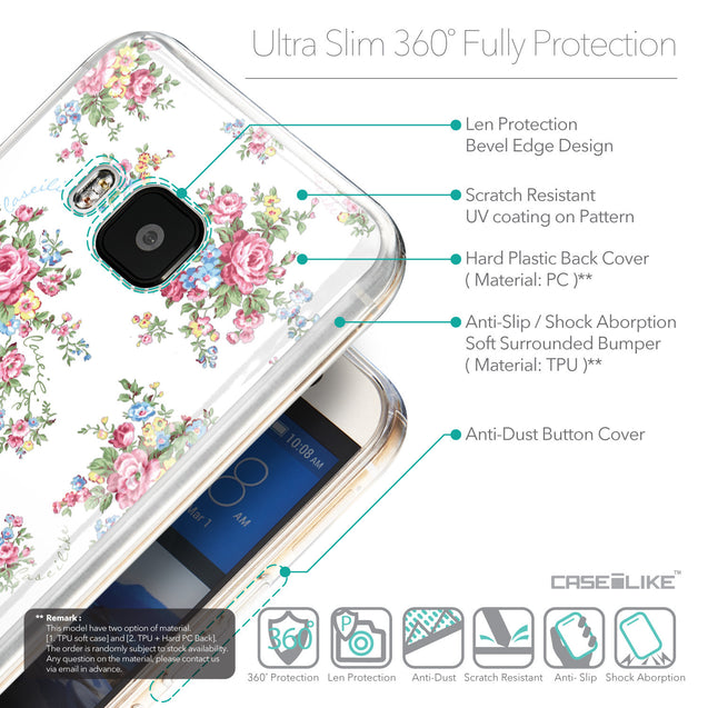 Details in English - CASEiLIKE HTC One M9 back cover Floral Rose Classic 2260