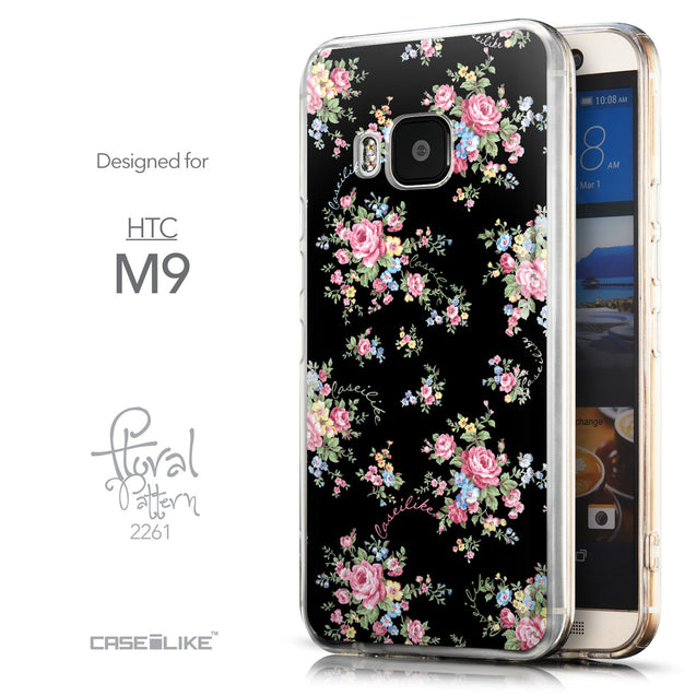 Front & Side View - CASEiLIKE HTC One M9 back cover Floral Rose Classic 2261