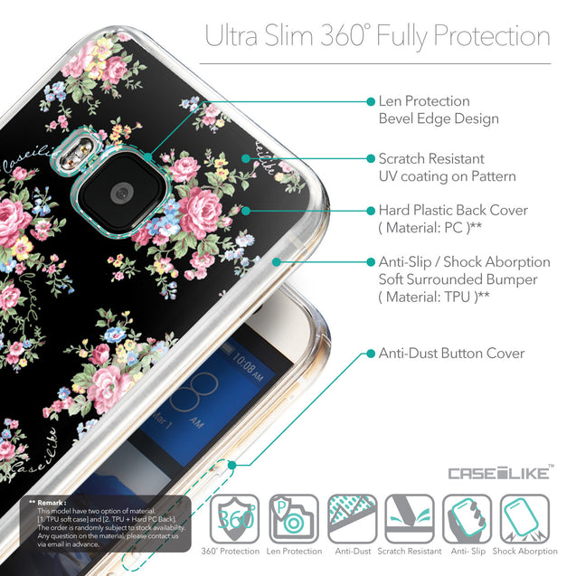 Details in English - CASEiLIKE HTC One M9 back cover Floral Rose Classic 2261