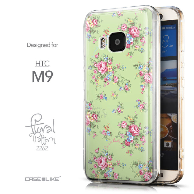 Front & Side View - CASEiLIKE HTC One M9 back cover Floral Rose Classic 2262