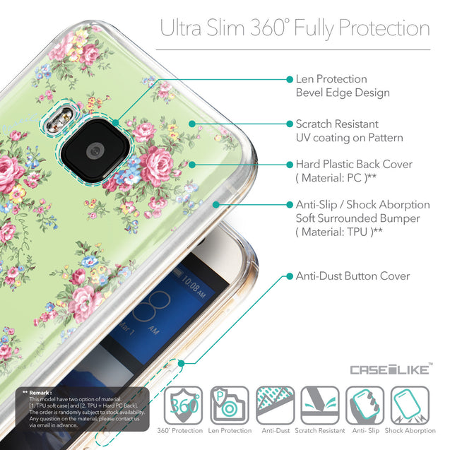 Details in English - CASEiLIKE HTC One M9 back cover Floral Rose Classic 2262