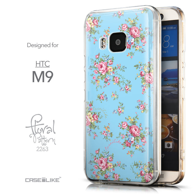 Front & Side View - CASEiLIKE HTC One M9 back cover Floral Rose Classic 2263