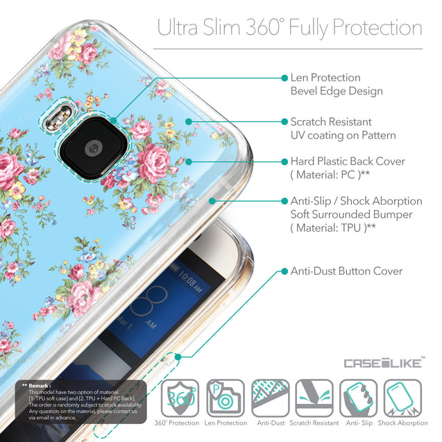 Details in English - CASEiLIKE HTC One M9 back cover Floral Rose Classic 2263