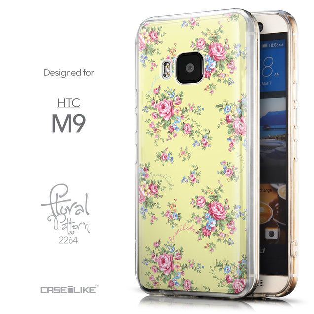 Front & Side View - CASEiLIKE HTC One M9 back cover Floral Rose Classic 2264