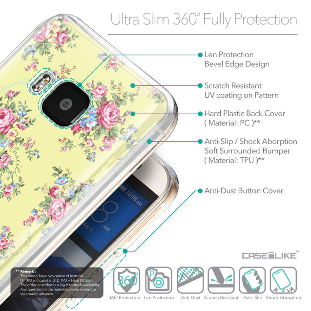 Details in English - CASEiLIKE HTC One M9 back cover Floral Rose Classic 2264