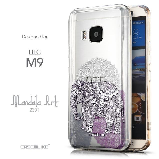 Front & Side View - CASEiLIKE HTC One M9 back cover Mandala Art 2301