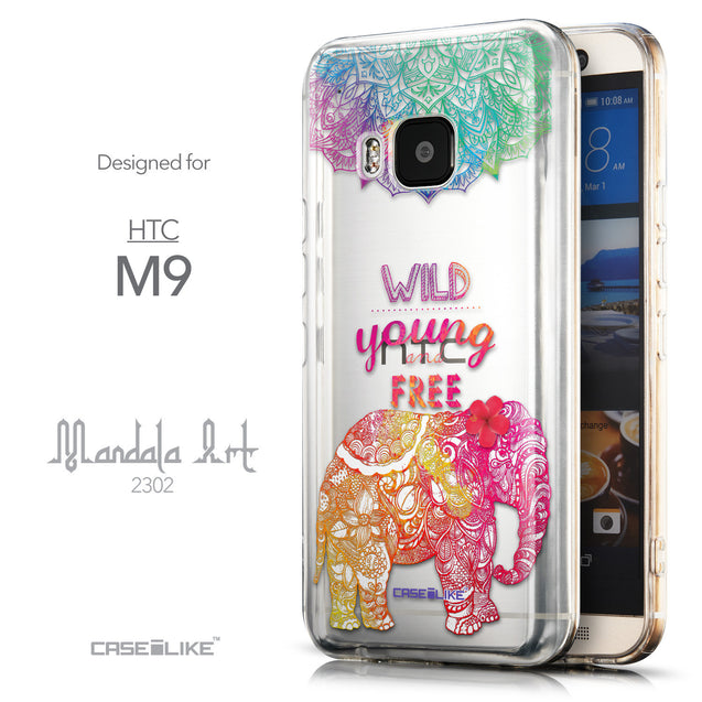 Front & Side View - CASEiLIKE HTC One M9 back cover Mandala Art 2302