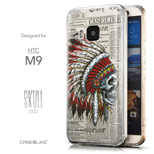 Front & Side View - CASEiLIKE HTC One M9 back cover Art of Skull 2522