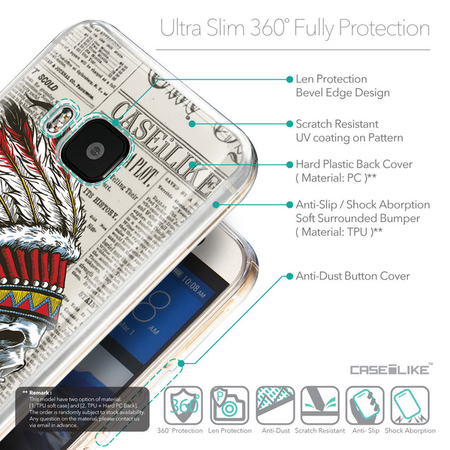Details in English - CASEiLIKE HTC One M9 back cover Art of Skull 2522