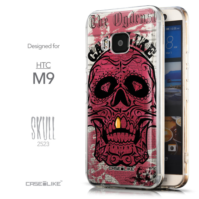 Front & Side View - CASEiLIKE HTC One M9 back cover Art of Skull 2523