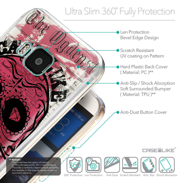 Details in English - CASEiLIKE HTC One M9 back cover Art of Skull 2523