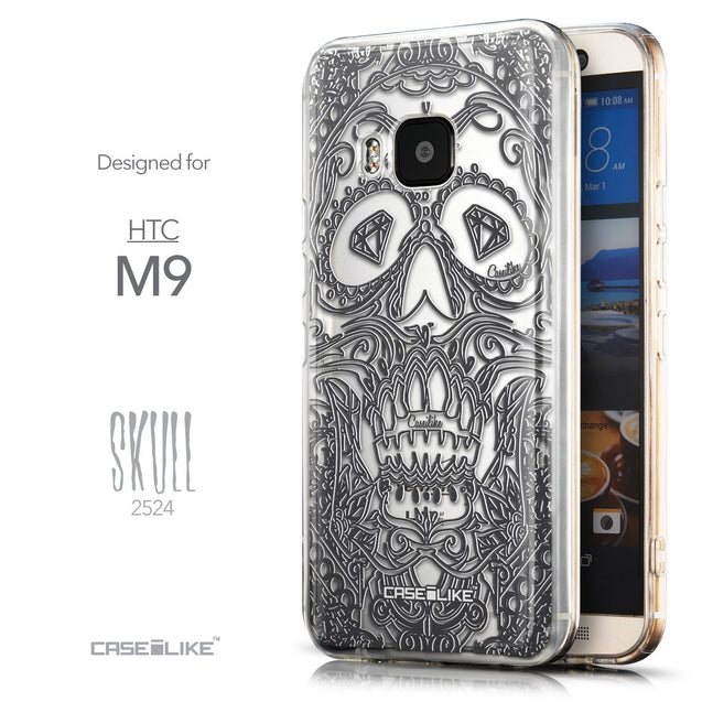 Front & Side View - CASEiLIKE HTC One M9 back cover Art of Skull 2524