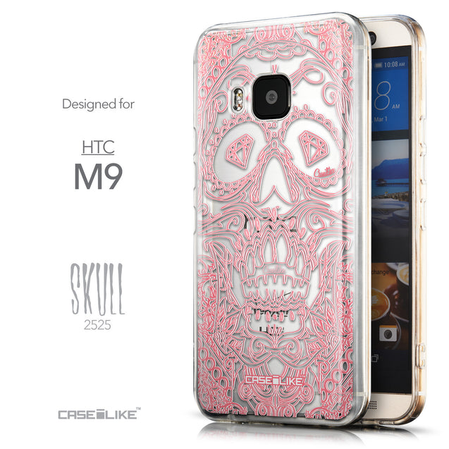 Front & Side View - CASEiLIKE HTC One M9 back cover Art of Skull 2525