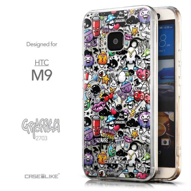 Front & Side View - CASEiLIKE HTC One M9 back cover Graffiti 2703