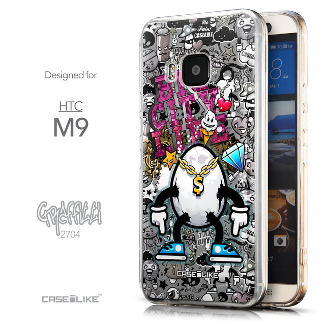 Front & Side View - CASEiLIKE HTC One M9 back cover Graffiti 2704