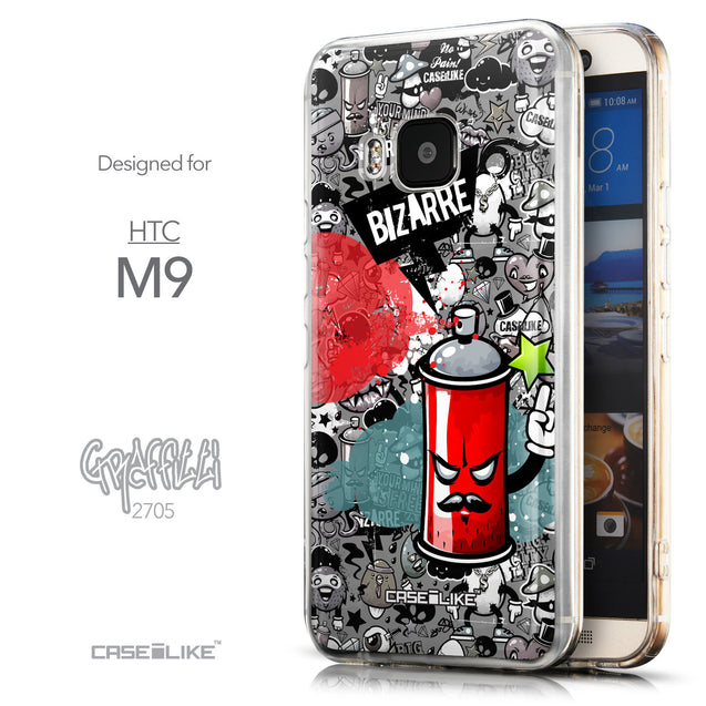 Front & Side View - CASEiLIKE HTC One M9 back cover Graffiti 2705