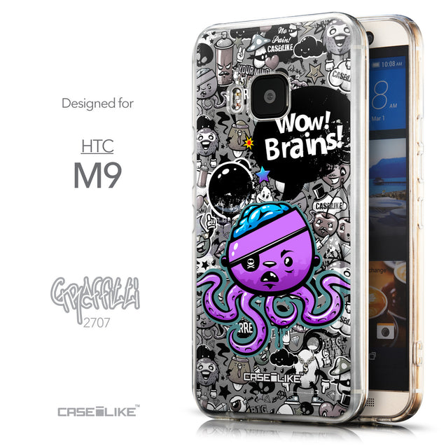 Front & Side View - CASEiLIKE HTC One M9 back cover Graffiti 2707