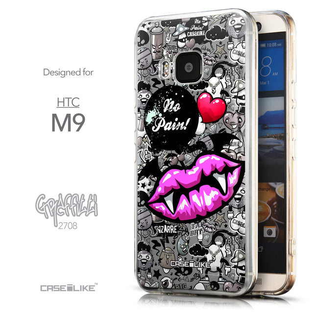 Front & Side View - CASEiLIKE HTC One M9 back cover Graffiti 2708