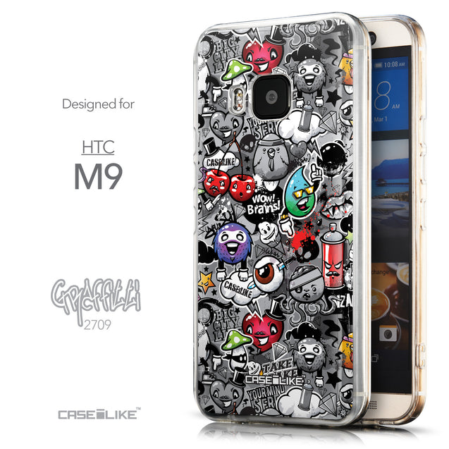 Front & Side View - CASEiLIKE HTC One M9 back cover Graffiti 2709