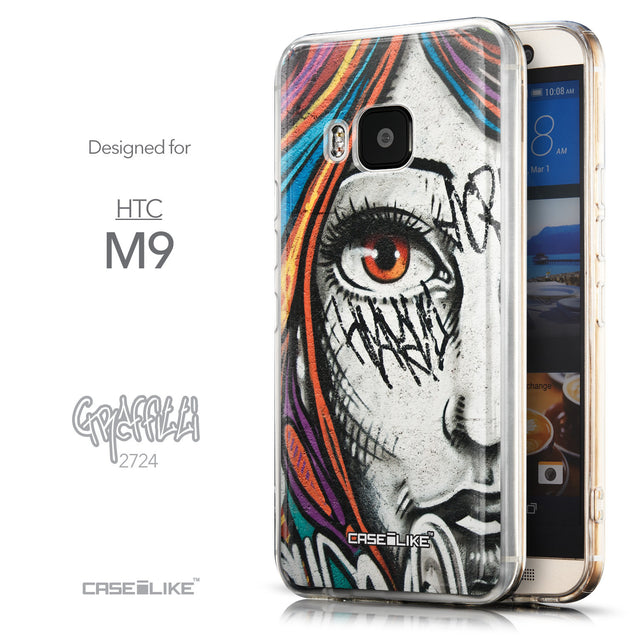Front & Side View - CASEiLIKE HTC One M9 back cover Graffiti Girl 2724