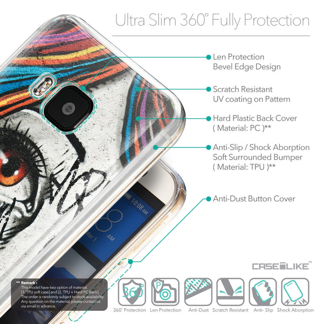 Details in English - CASEiLIKE HTC One M9 back cover Graffiti Girl 2724