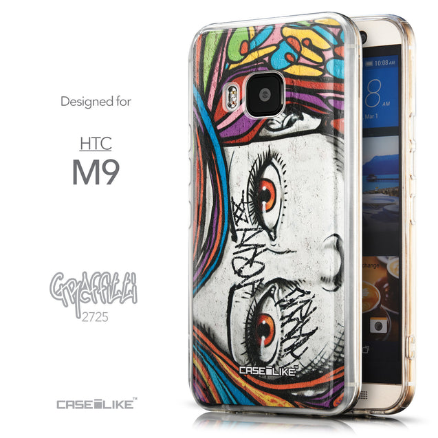 Front & Side View - CASEiLIKE HTC One M9 back cover Graffiti Girl 2725