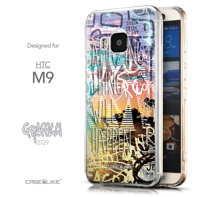 Front & Side View - CASEiLIKE HTC One M9 back cover Graffiti 2729