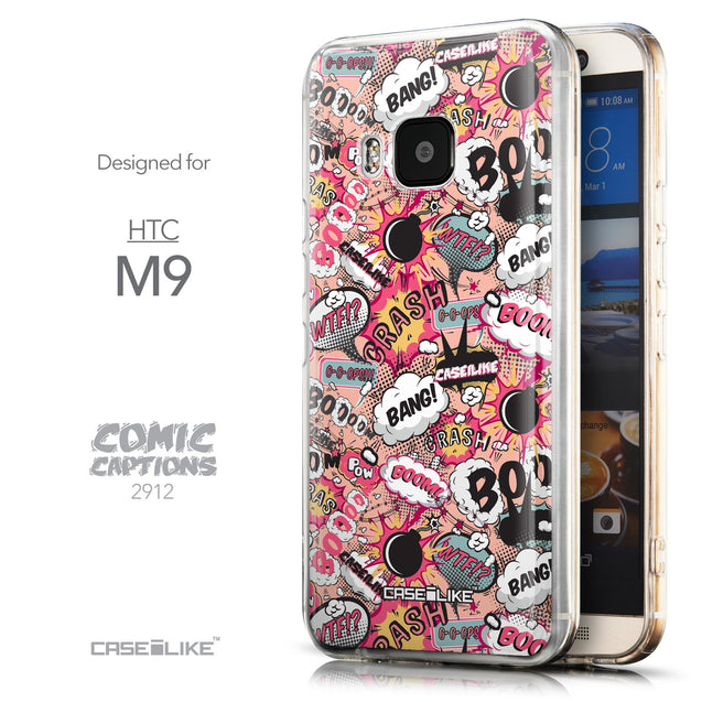 Front & Side View - CASEiLIKE HTC One M9 back cover Comic Captions Pink 2912