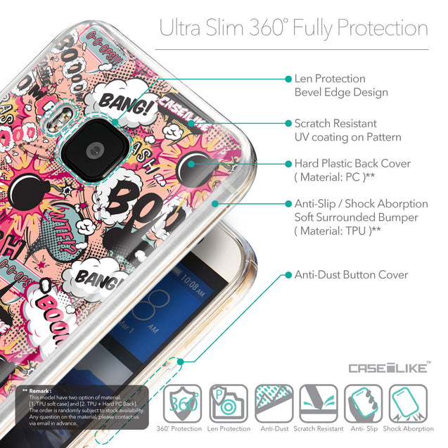 Details in English - CASEiLIKE HTC One M9 back cover Comic Captions Pink 2912