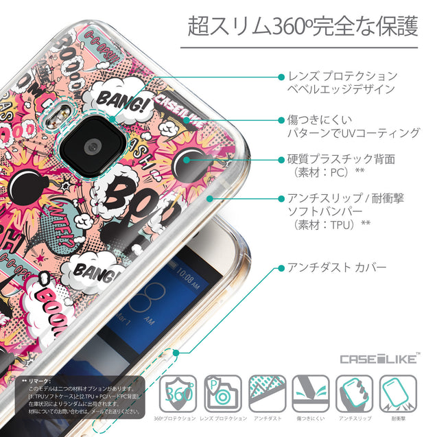 Details in Japanese - CASEiLIKE HTC One M9 back cover Comic Captions Pink 2912