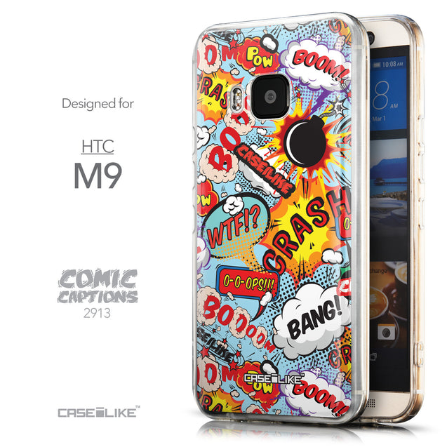 Front & Side View - CASEiLIKE HTC One M9 back cover Comic Captions Blue 2913