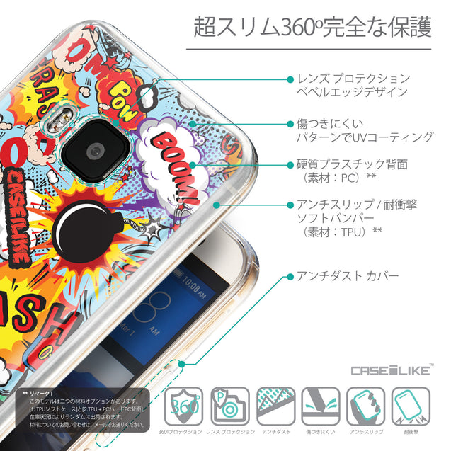 Details in Japanese - CASEiLIKE HTC One M9 back cover Comic Captions Blue 2913