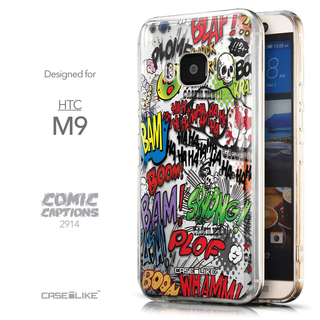 Front & Side View - CASEiLIKE HTC One M9 back cover Comic Captions 2914
