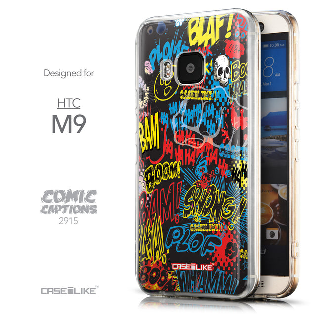 Front & Side View - CASEiLIKE HTC One M9 back cover Comic Captions Black 2915