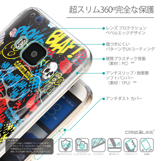 Details in Japanese - CASEiLIKE HTC One M9 back cover Comic Captions Black 2915