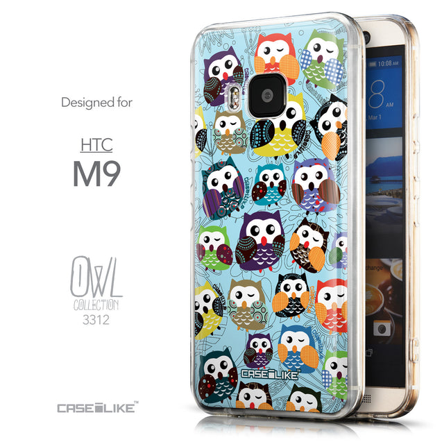 Front & Side View - CASEiLIKE HTC One M9 back cover Owl Graphic Design 3312