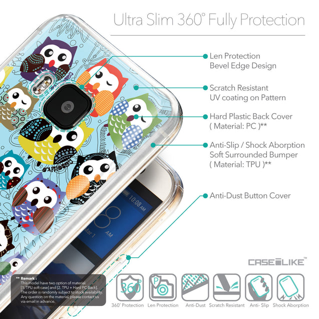 Details in English - CASEiLIKE HTC One M9 back cover Owl Graphic Design 3312