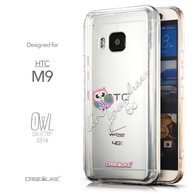 Front & Side View - CASEiLIKE HTC One M9 back cover Owl Graphic Design 3314