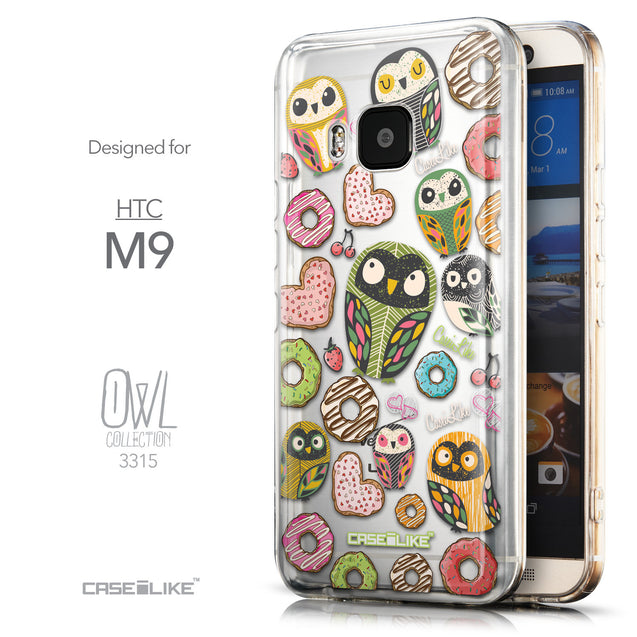 Front & Side View - CASEiLIKE HTC One M9 back cover Owl Graphic Design 3315