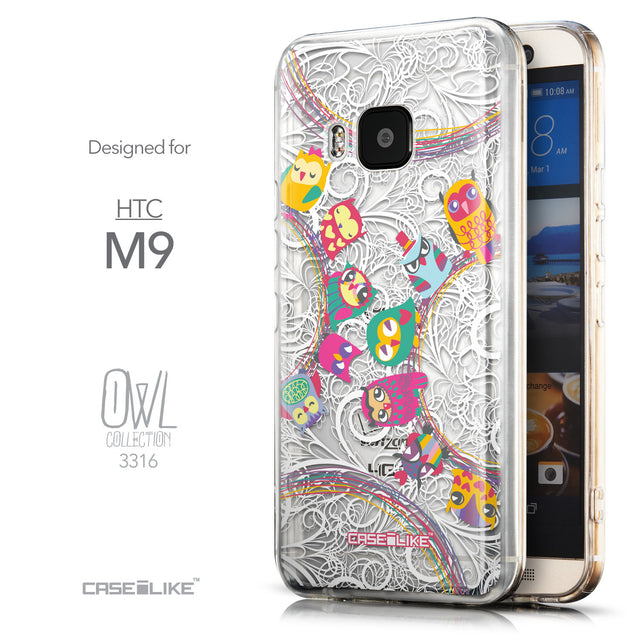 Front & Side View - CASEiLIKE HTC One M9 back cover Owl Graphic Design 3316