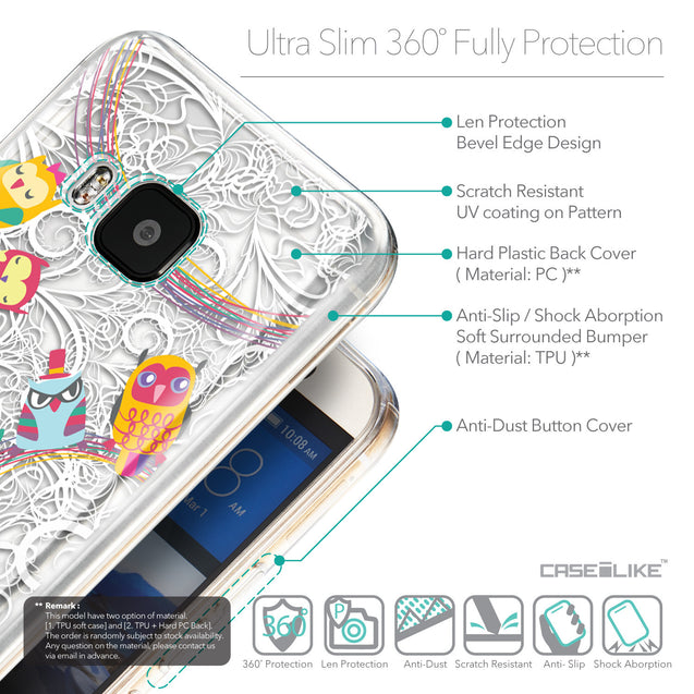 Details in English - CASEiLIKE HTC One M9 back cover Owl Graphic Design 3316