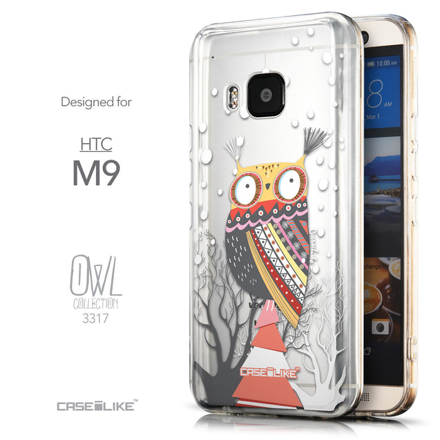 Front & Side View - CASEiLIKE HTC One M9 back cover Owl Graphic Design 3317