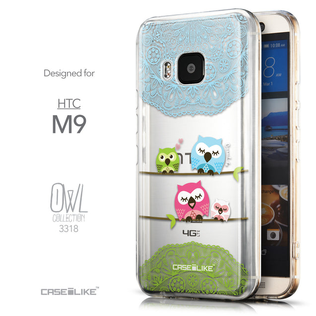 Front & Side View - CASEiLIKE HTC One M9 back cover Owl Graphic Design 3318