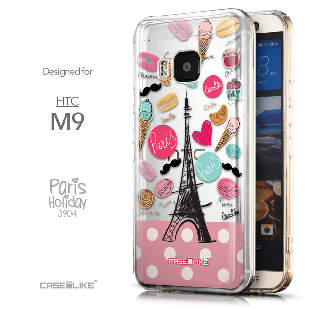 Front & Side View - CASEiLIKE HTC One M9 back cover Paris Holiday 3904
